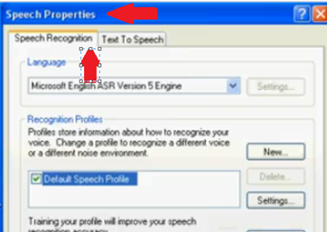 Speech Properties in Windows XP