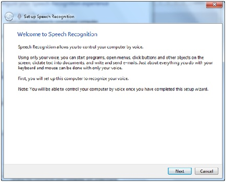 Speech Recognition Wizard in Windows 7