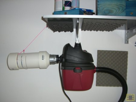 shop vac noise-reduction setup