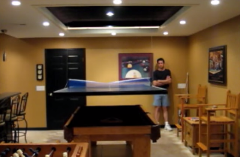 Garage Door Opener Used To Automatically Lower A Game Table Top
