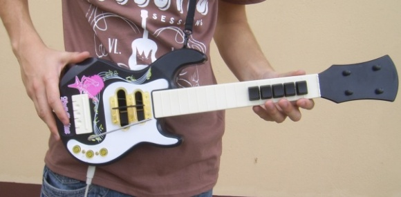 Guitar Hero Controller Built From Toy Guitar And Keyboard | Hackaday
