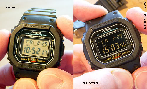 Before and after of a negative display watch conversion