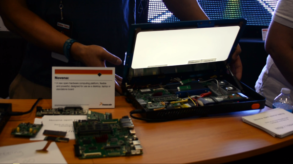 A view inside the Novena Open Hardware laptop