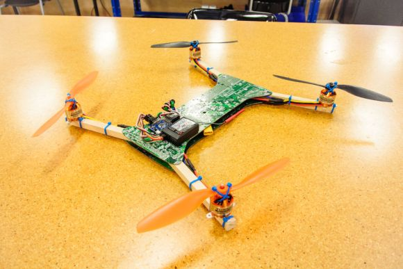 A quadcopter built from a motherboard