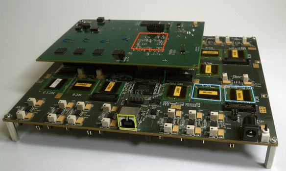 Neurogrid circuit board that replicates functions of the human brain.