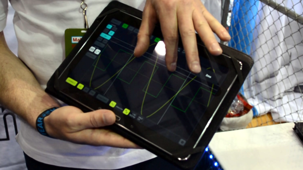 Showing the tablet interface for the scope