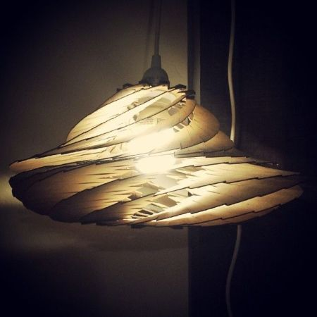 Curved wood lamp