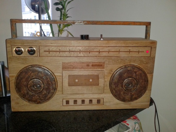 Wooden Ghettoblaster made from recycled car audio parts