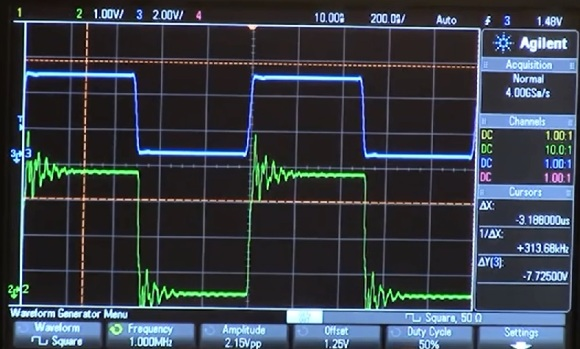 scope capture showing ringing affect in a high speed digital signal
