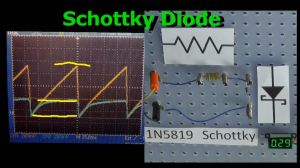 Demonstrating a Schottky diode in an AC and DC circuit.