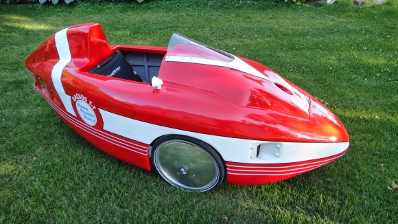 The Radius T-T Velomobile human powered vehicle