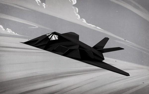 sketch of f117 fighter flying