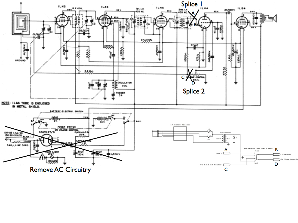 schematic of minor modifications to the olympic 6-606 battery tube radio