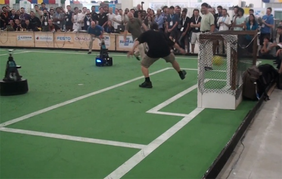 Soccer robot scores on humans