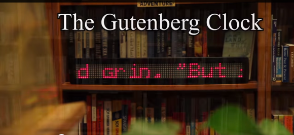 Gutenberg clock displaying text from a book