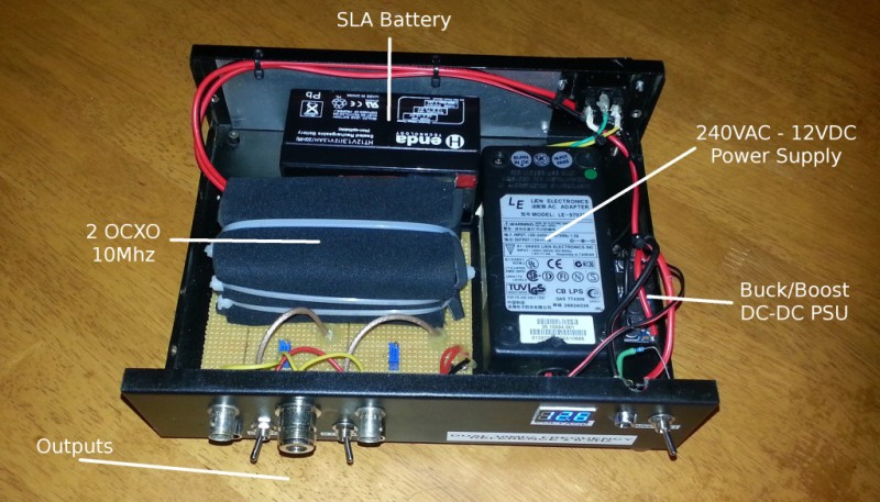 The internals of a home built 10 MHz frequency reference.
