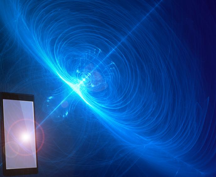 Representation of cosmic light hitting a smartphone's screen.