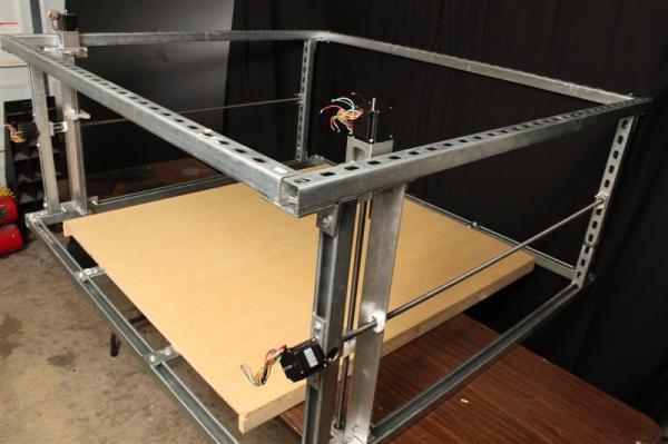 DIY foam cutter made from Uni-Strut.