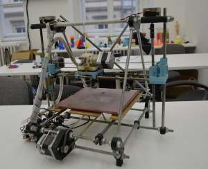 The first Prusa printer, derived from the RepRap Mendel.