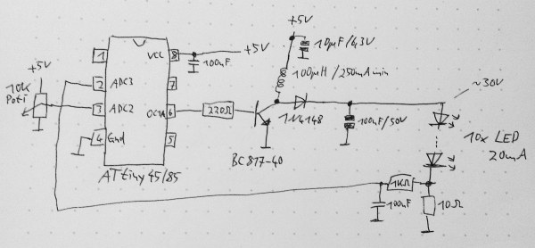 Schematic for a boost converter based on the ATtiny MCU