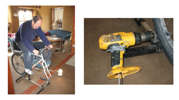Bicycle Generator with Cordless Drill