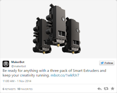 A direct link to Makerbot's  3-pack of Smart Extruders is very hard to find