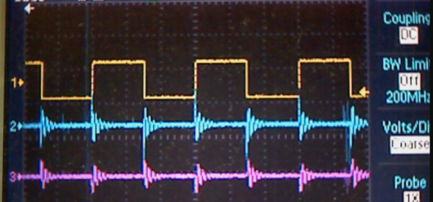 Looking at a square wave through a hi-pass filter.