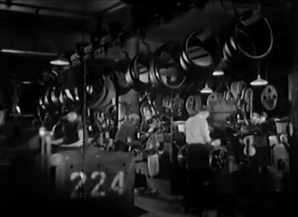 Tire assembly room of the Brunswick Tire Corporation