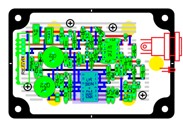 A protoboard layout for an ATtiny85 door chime