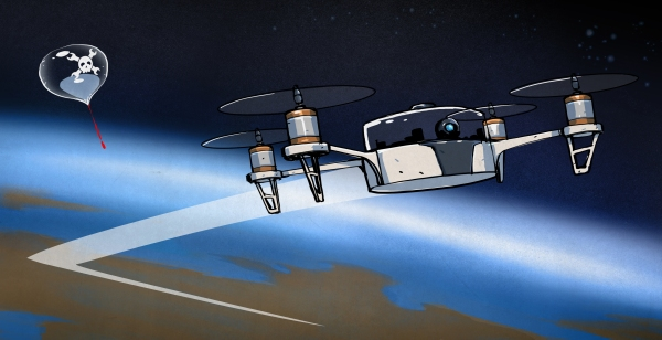 drawing of quadcopter in space
