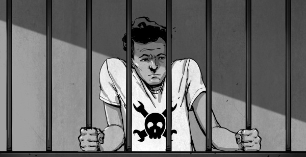 drawing of hacker in jail