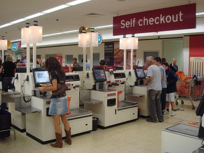 """""""Self checkout using NCR Fastlane machines"""" by pin add - Self CheckoutUploaded by SchuminWeb. Licensed under CC BY 2.0 via Commons - https://commons.wikimedia.org/wiki/File:Self_checkout_using_NCR_Fastlane_machines.jpg#/media/File:Self_checkout_using_NCR_Fastlane_machines.jpg"""