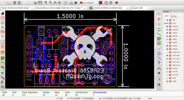 Breakout board laid out in KiCAD