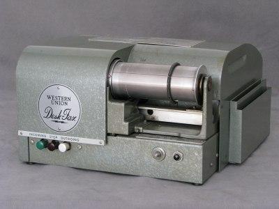 A Western Union DeskFax unit. Image from [B. Hilpert]http://www.cs.ubc.ca/~hilpert/e/deskfax/
