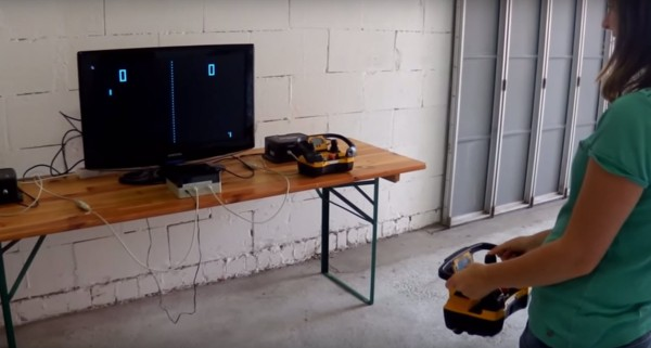 playing pong with a crane remote
