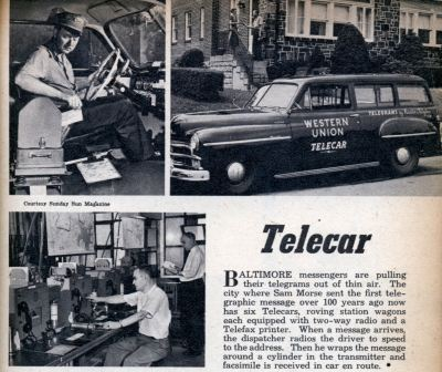 The Western Union Telecar printed telegrams on the go and delivered them to homes and businesses.
