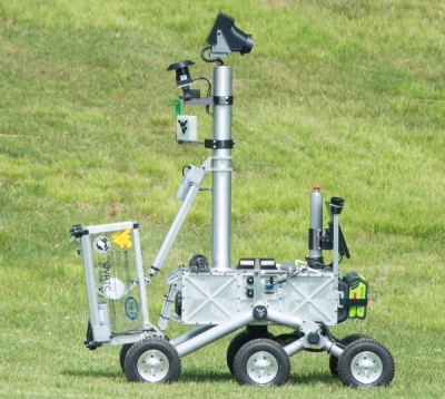 The Mountaineers team robot is seen after picking up the pre-cached sample during its attempt at the level two challenge during the 2015 Sample Return Robot Challenge, Thursday, June 11, 2015 at the Worcester Polytechnic Institute (WPI) in Worcester, Mass. Sixteen teams are competing for a $1.5 million NASA prize purse. Teams will be required to demonstrate autonomous robots that can locate and collect samples from a wide and varied terrain, operating without human control. The objective of this NASA-WPI Centennial Challenge is to encourage innovations in autonomous navigation and robotics technologies. Innovations stemming from the challenge may improve NASA's capability to explore a variety of destinations in space, as well as enhance the nation's robotic technology for use in industries and applications on Earth. Photo Credit: (NASA/Joel Kowsky)