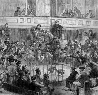 """Sunday Cockfight at Madrid"" by (artist not specified) - wood engraving published in Harper's Weekly, September 1873.. Licensed under Public Domain via Commons."