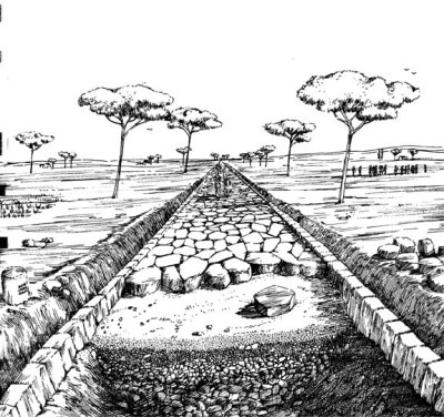 Construction of a Roman roadway. Image via Walt Stevenson, University of Richmond