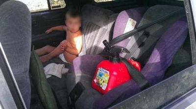 Yes, this gas can strapped into car seat instead of the baby actually happened.