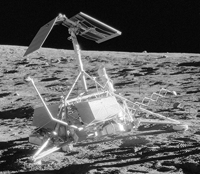Surveyor 3 on the lunar surface, taken by the crew of Apollo 12