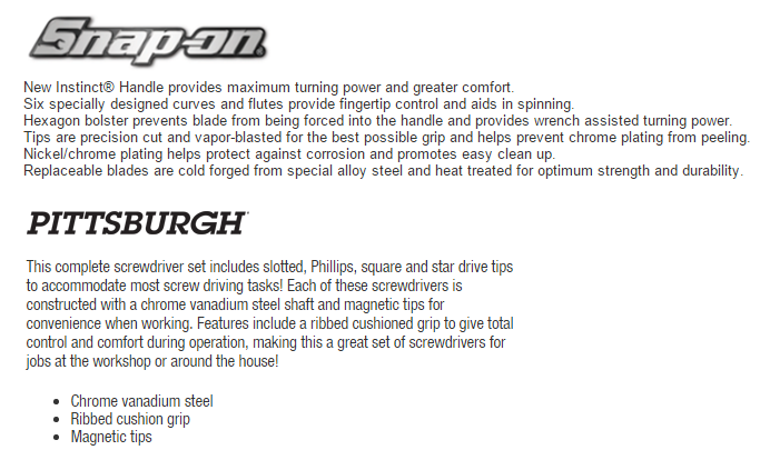 Note how harbor freight mentions what the tool does and snap-on mentions why it does its function better.