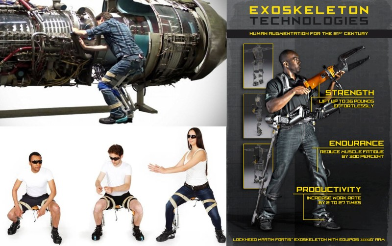 Left: Noonee Exoskeleton, Right: Lockheed Martin FORTIS