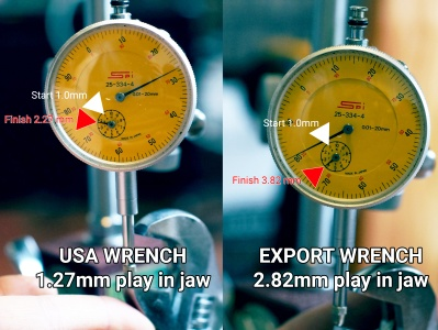 As you can see the export made crescent wrench is not made to the same tolerances as the previous wrench.