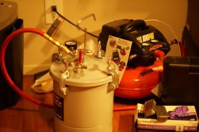 Alternative pressure casting set-up.