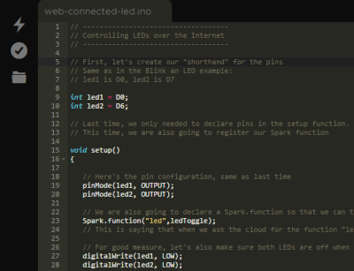 Particle's web-based Arduino-ish IDE, allowing code to be flashed to the device over the cellular network.