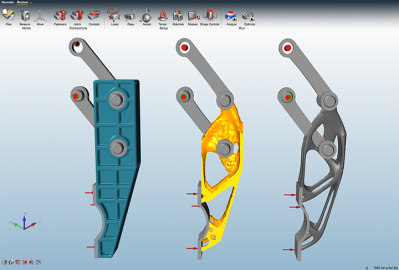 Solid thinking's inspire software uses computer simulation to remove unnecessary material from a part.