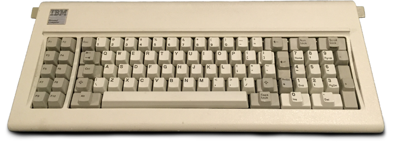 The IBM Model F, released with the IBM PC 5150, the first IBM PC. Image source