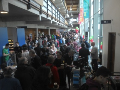 The William Gates Building concourse packed with Pi enthusiasts