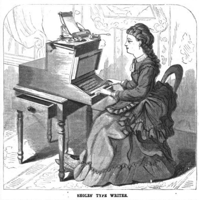 The Sholes Typewriter, as seen on the August 10, 1872 cover of Scientific American